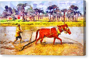 Primitive Plow Canvas Print by George Rossidis