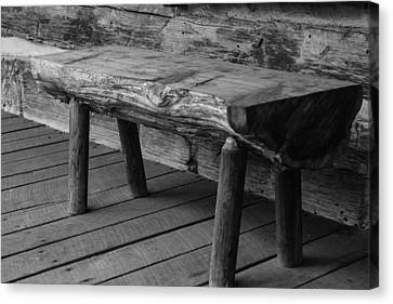 Canvas Print featuring the photograph Primitive Wooden Bench by Robert Hebert