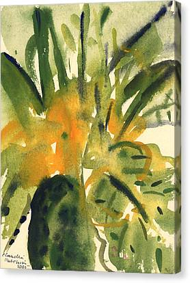 Green And Yellow Abstract Canvas Print - Primroses by Claudia Hutchins-Puechavy