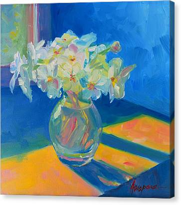 Primroses In Spring Light - Still Life Canvas Print by Patricia Awapara