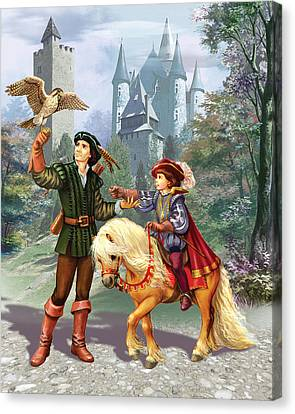 Prince And Falconer Canvas Print by Zorina Baldescu