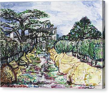 Canvas Print featuring the painting Prince Charles Gardens by Helena Bebirian