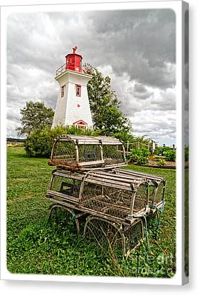 Prince Edward Island Lighthouse With Lobster Traps Canvas Print