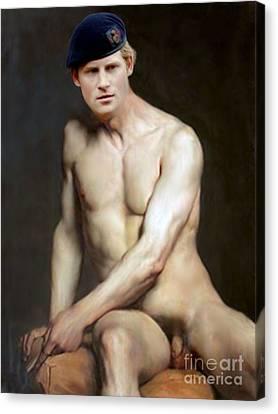 Prince Harry  Seated Nude Canvas Print by Karine Percheron-Daniels