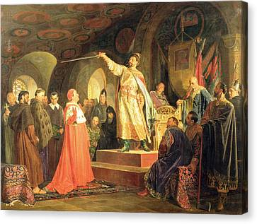 Prince Roman Of Halych-volhynia Receiving The Ambassadors Of Pope Innocent IIi, 1875 Oil On Canvas Canvas Print by Nikolai Vasilievich Nevrev