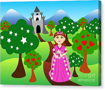 Princess And Castle Landscape Canvas Print by Sylvie Bouchard