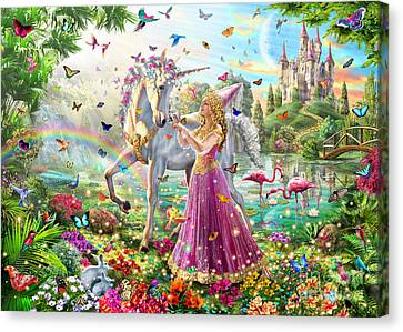 Princess And The Unicorn Canvas Print by Adrian Chesterman