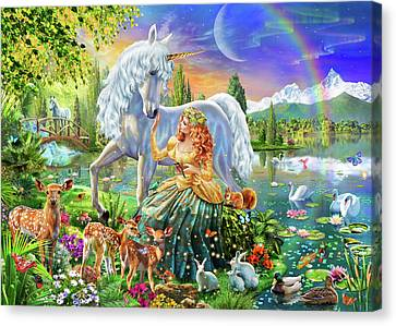 Princess And Unicorn Canvas Print