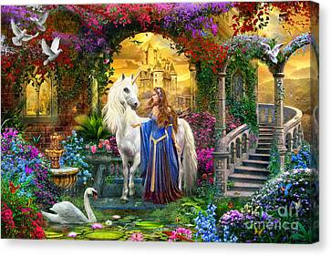 Cloistered Canvas Print - Princess And Unicorn In The Cloisters by Jan Patrik Krasny