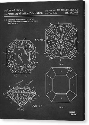 Princess Cut Diamond Patent Gray Canvas Print by Nikki Marie Smith