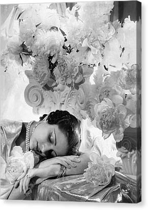 Pearl Necklace Canvas Print - Princess Karam Of Kapurthala With Flowers by Cecil Beaton