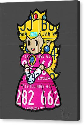 Princess Peach From Mario Brothers Nintendo Recycled License Plate Art Portrait Canvas Print