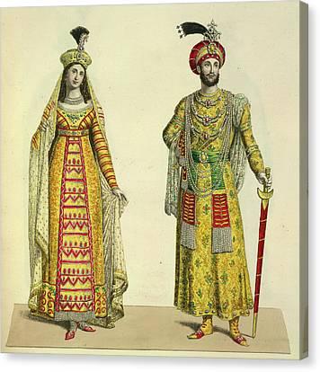 Princess Roschinara And Aurengzeb Canvas Print by British Library