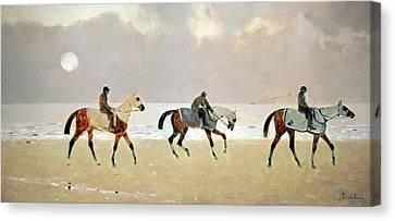 Princeteau's Riders On The Beach At Dieppe Canvas Print by Cora Wandel