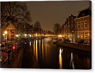 Prinsengracht Canal After Dark Canvas Print by Jonah  Anderson