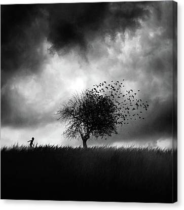 Wind Blown Tree Canvas Print - Printemps Perdu by Sebastien Del Grosso