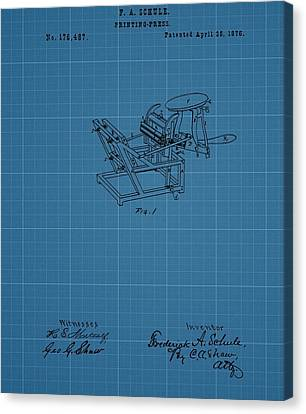 Printing Press Blueprint Patent Canvas Print