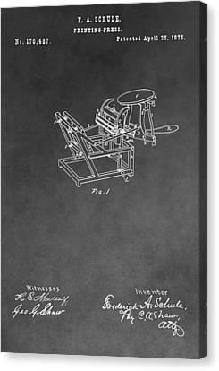 Printing Press Patent Drawing Canvas Print