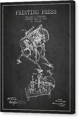 Printing Press Patent From 1878 - Dark Canvas Print