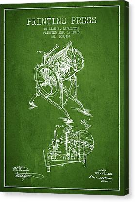 Printing Press Patent From 1878 - Green Canvas Print