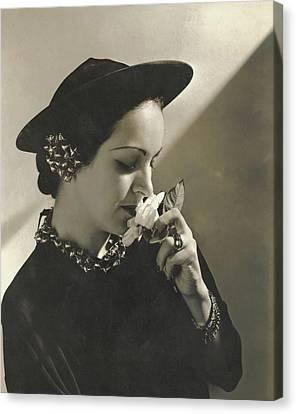 Lawson Canvas Print - Priscilla Lawson Wearing A Lilly Dache Hat by Edward Steichen