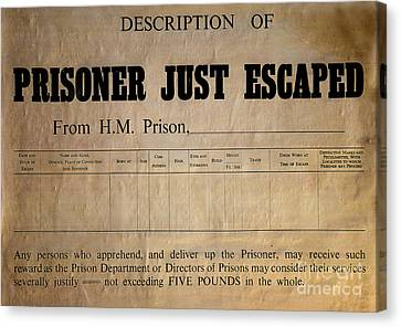 Prisoner Escaped Canvas Print by Adrian Evans