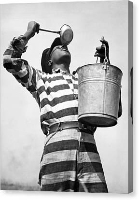 Prisoner Quenches His Thirst Canvas Print