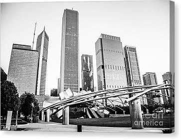 Pritzker Pavilion Chicago Skyline Black And White Photo Canvas Print