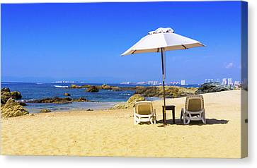 Private Beach Canvas Print by Aged Pixel