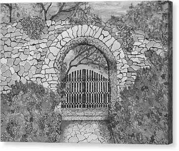 Antique Ironwork Canvas Print - Private Garden At Sunset Black And White by Ashley Goforth