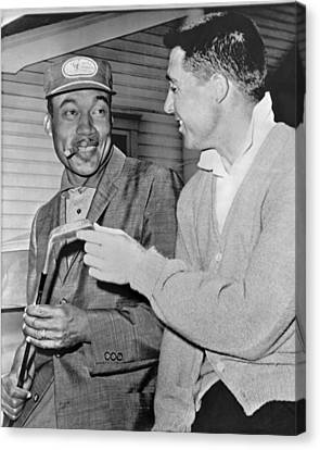 Pro Golfers Chat Canvas Print by Underwood Archives