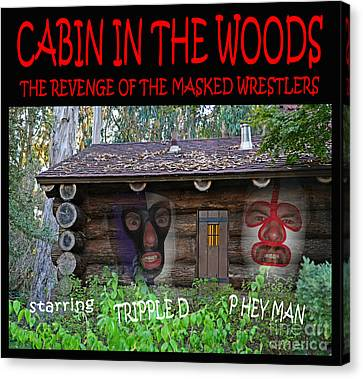 Pro Wrestling Horror Movie Cabin In The Woods Canvas Print by Jim Fitzpatrick