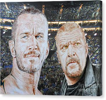 Pro Wrestling Superstars Randy Orton And Triple H Canvas Print by Jim Fitzpatrick