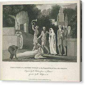 Procession Of A Hindoo Woman Canvas Print by British Library