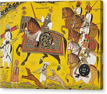 Processional Portrait Of Prince Bhawani Sing Of Sitamau Canvas Print by Pyara Singh