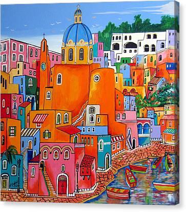 Procida Houses Canvas Print by Roberto Gagliardi