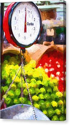 Grocery Store Canvas Print - Produce Scale by Vivian Frerichs
