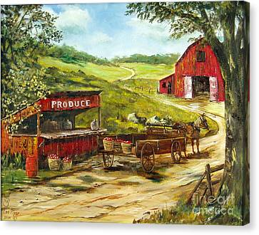 Canvas Print featuring the painting Produce Stand by Lee Piper