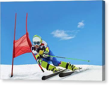 Professional Female Ski Competitor At Canvas Print