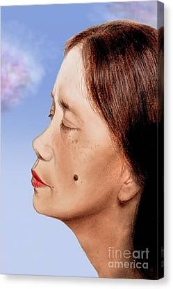 Profile Of A Filipina Beauty With A Mole On Her Cheek Altered Version Canvas Print by Jim Fitzpatrick