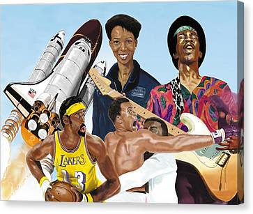 Canvas Print featuring the digital art Jimi, Muhammad Ali, Wilt Chamberlain And Mae Carol Jemison by Thomas J Herring