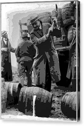 Fed Canvas Print - Federal Prohibition Agents Destroy Liquor 1923 by Daniel Hagerman