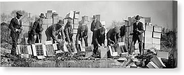 Prohibition Feds Destroy Liquor  1923 Canvas Print by Daniel Hagerman