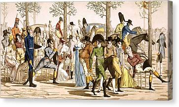 Promenade At Longchamps, 1802 Canvas Print by French School