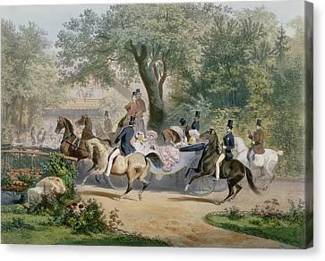 Promenade Au Bois Canvas Print by Eugene Charles Francois Guerard