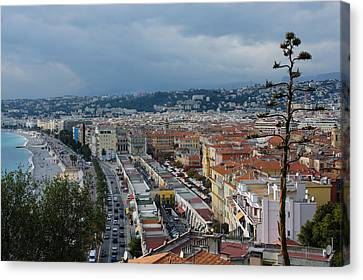 Cours Saleya Canvas Print - Promenade Des Anglais And Cours Saleya From Above - Nice France French Riviera by Georgia Mizuleva
