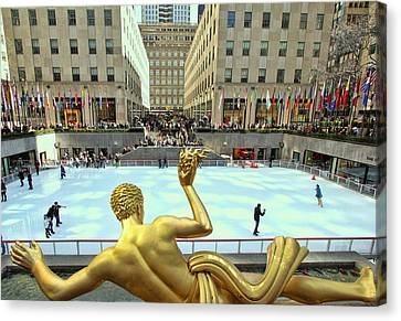 Prometheus From Behind - Rockefeller Center Canvas Print