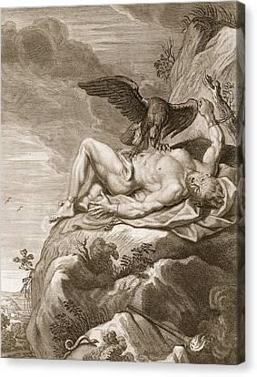 Prometheus Tortured By A Vulture, 1731 Canvas Print by Bernard Picart
