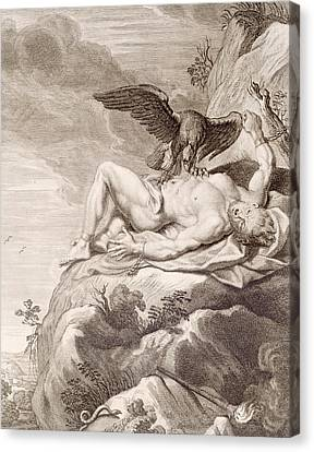 Prometheus Tortured By A Vulture Canvas Print by Bernard Picart