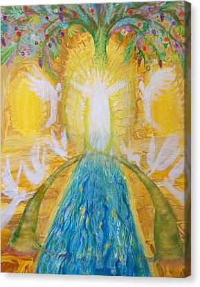 Prophetic Message Sketch 11 Two Trees Become One Tree And River Of Life Canvas Print by Anne Cameron Cutri
